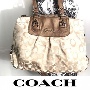 Coach Gold Cream Signature C Tote Bag Purse L1175